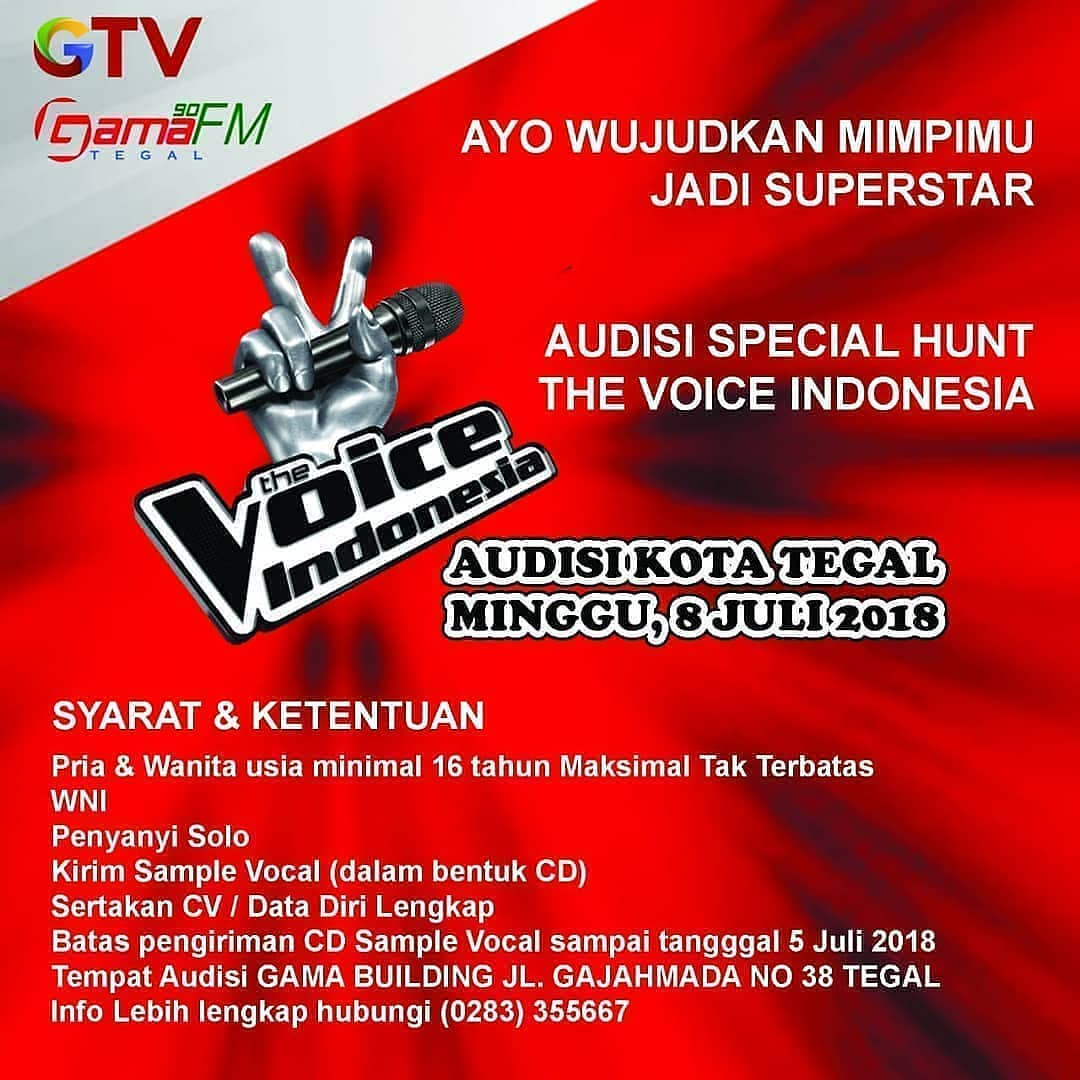 Event Tegal -audisi Special Hunt The Voice Indonesia