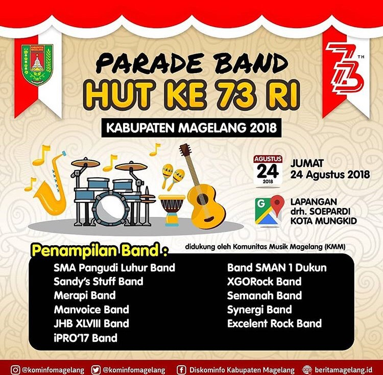 Event Magelang - Parade Band Hut Ke 73 Ri