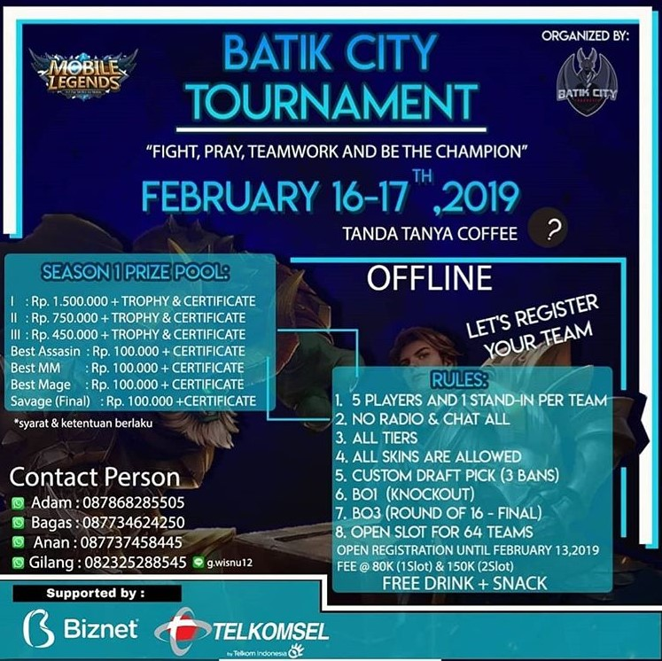 EVENT PEKALONGAN - BATIK CITY TOURNAMENT (MOBILE LEGENDS)
