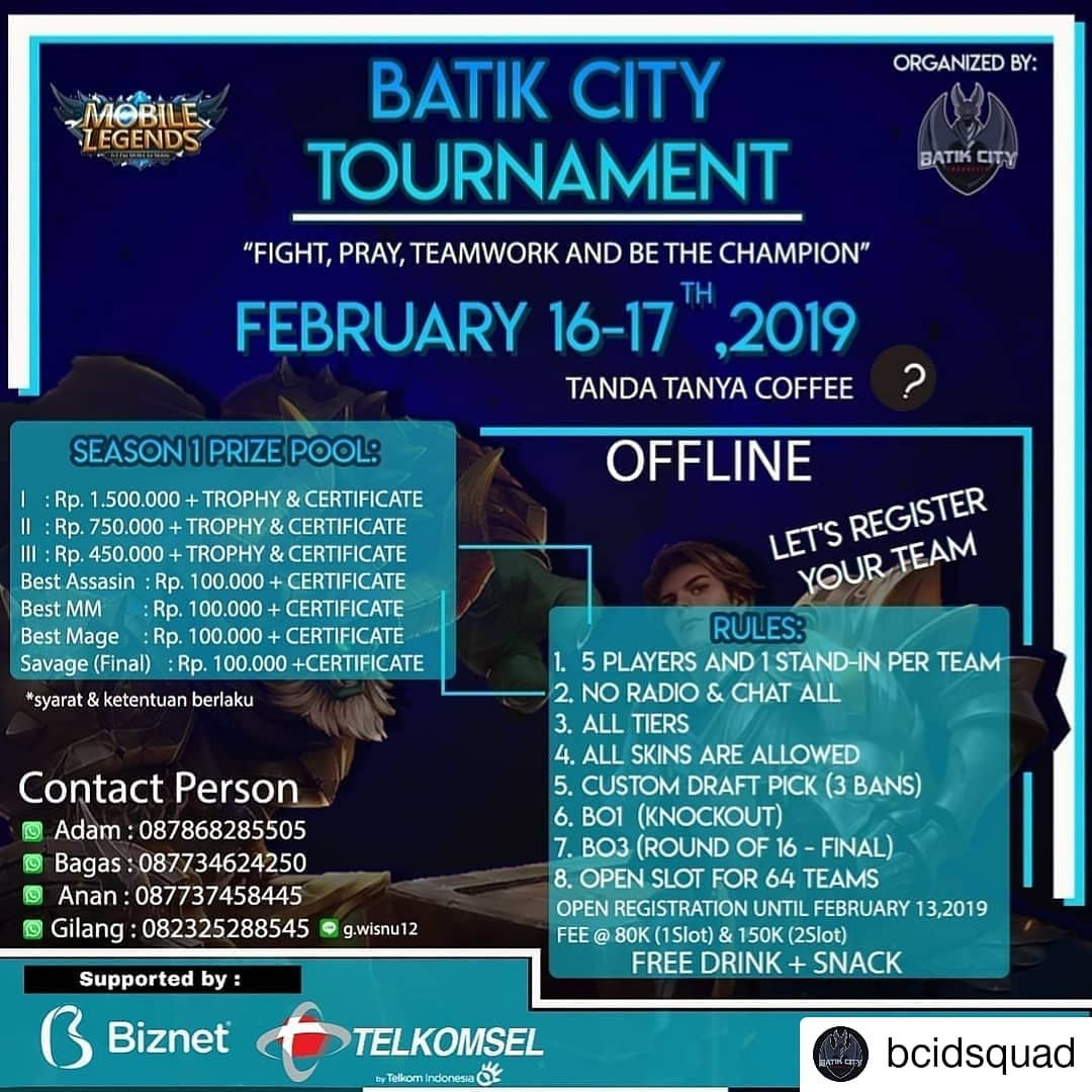 EVENT PEKALONGAN - BATIK CITY TOURNAMENT MOBILE LEGENDS