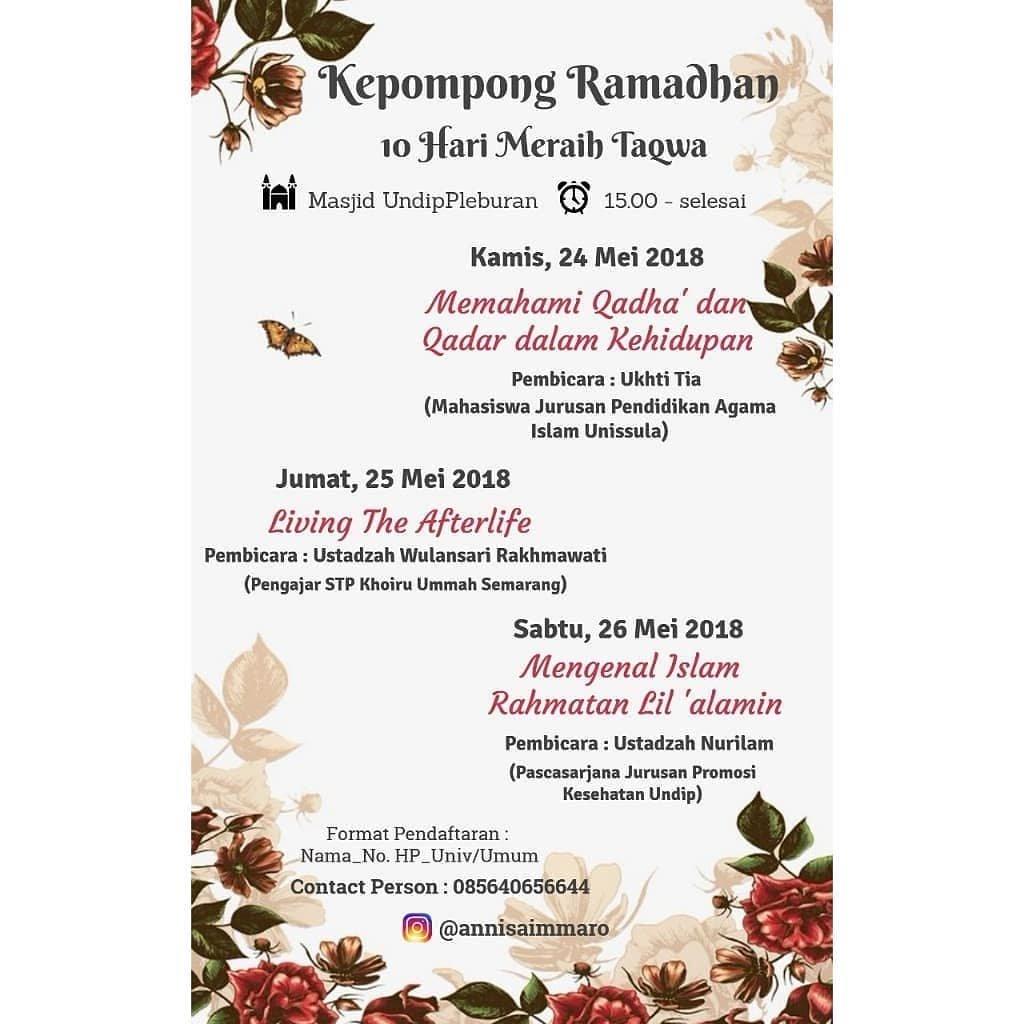 EVENT SEMARANG - KEPOMPONG RAMADHAN 10  HARI MERAIH TAQWA
