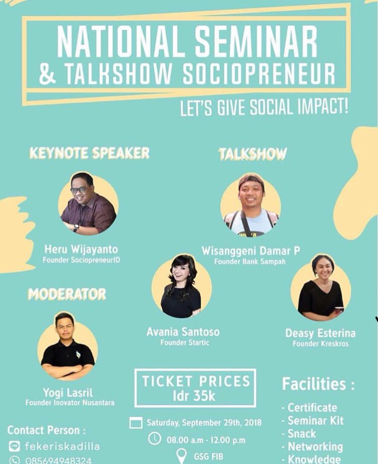 Event Semarang - National Seminar And Talkshow Sociopreneur 2018