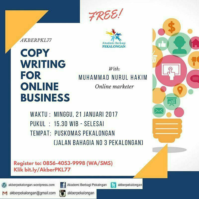 Event Akber Pkl 77 Copywriting For Online Business Di Pekalongan