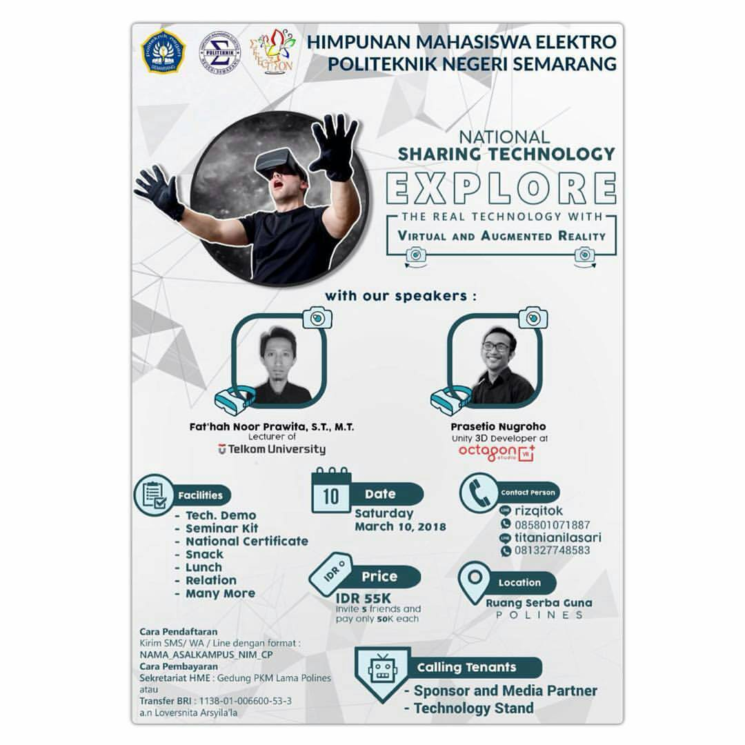 EVENT NATIONAL SHARING TECHNOLOGY EXPLORE THE REAL TECHNOLOGY WITH VIRTUAL AND AUGMENTED REALITY DI SEMARANG