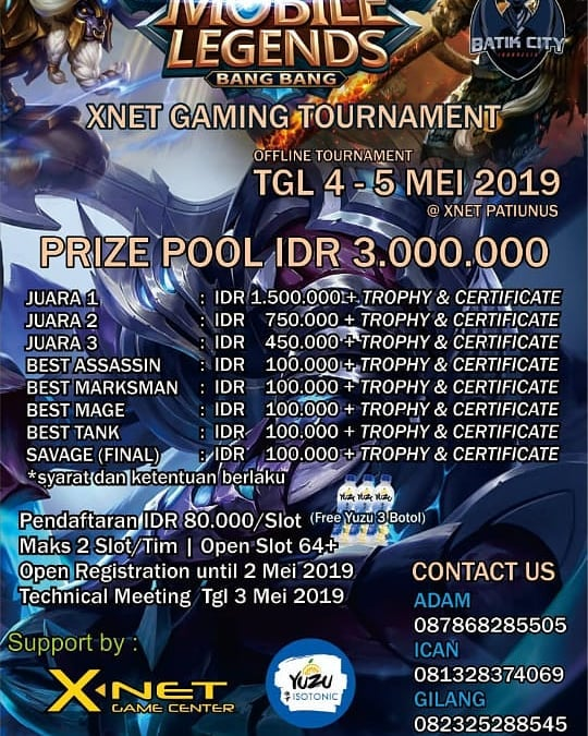 Event Pekalongan - Xnet Gaming Tournament Mobile Legends