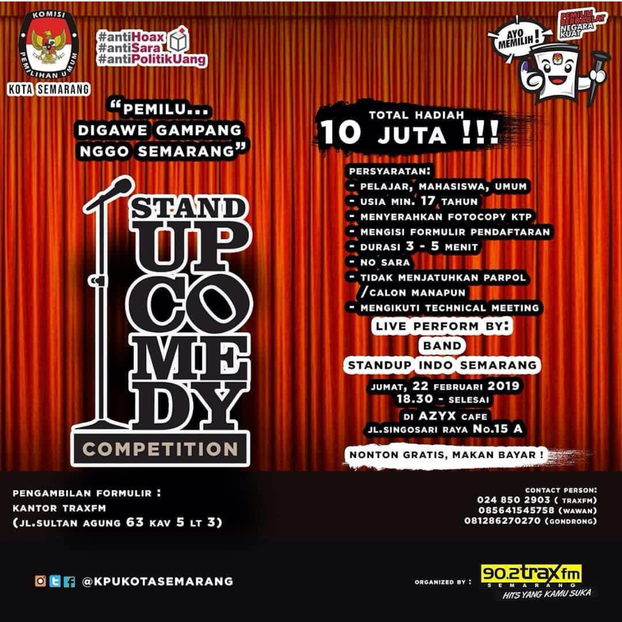 Event Semarang - Stand Up Comedy Competition Special Pemilu