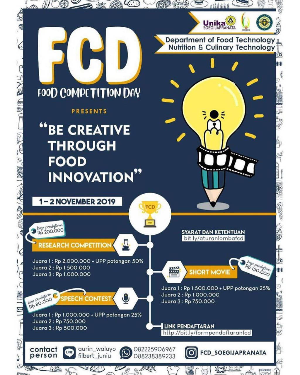 FOOD COMPETITION DAY 2019 PRESENTS BE CREATIVE THROUGH FOOD INNOVATION