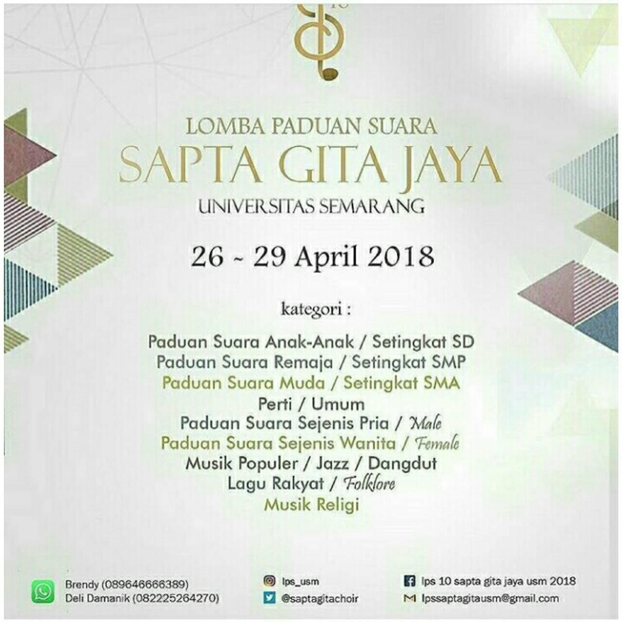 Lomba Paduan Suara Sapta Gita Jaya Universitas Semarang