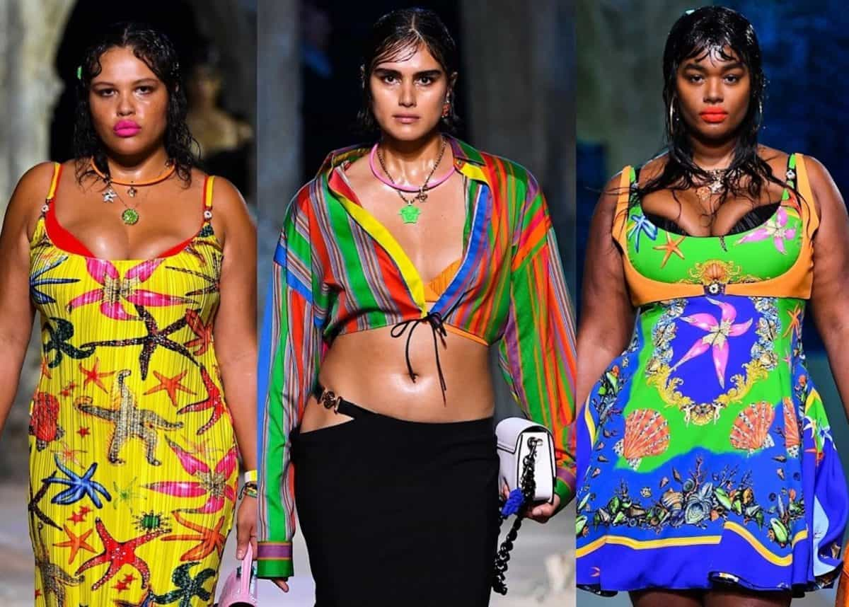 Plus-size models, from left, Alva Clare, Jill Kortleve and Precious Lee in the Versace show.