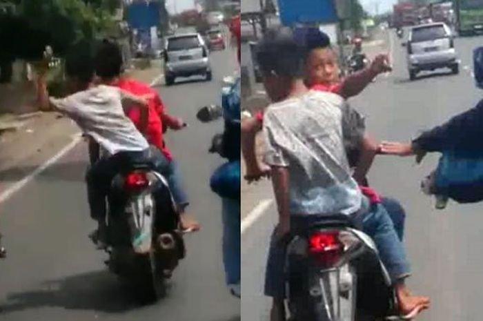 2 Bocah Mengendarai Motor Menimpuk Batu dan Meminta Uang Pada Pengendara Lain, Saat Dibawa Ke Polsek Pernyataannya Beda Lagi