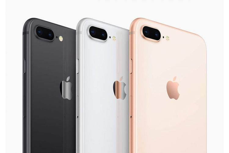 iPhone 8 Plus dalam variasi warna space gray, silver dan gold