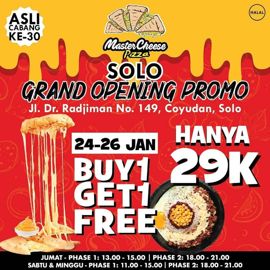 GRAND OPENING CABANG KE 30 SOLO, Master Cheese Pizza