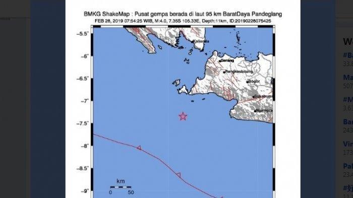 Gempa berkekuatan 4 SR mengguncang Banten.