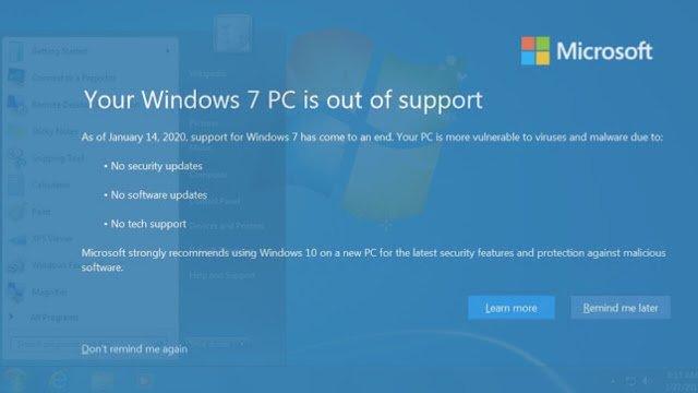 Berita Dari Laman Microsft Tentang Berhentinya Dukungan Microsoft Kepada Windows 7
