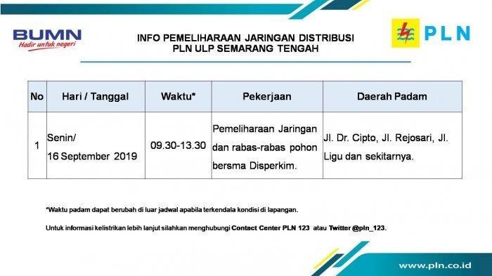Info Pemeliharaan Jaringan Listrik PLN Hari Ini
