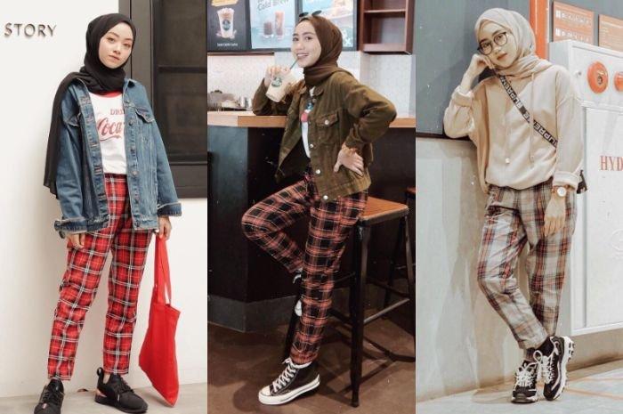 Ini Dia Tren Fashion Hijab 2019 dengan Paduan Celana Kotak-Kotak ala Selebgram!