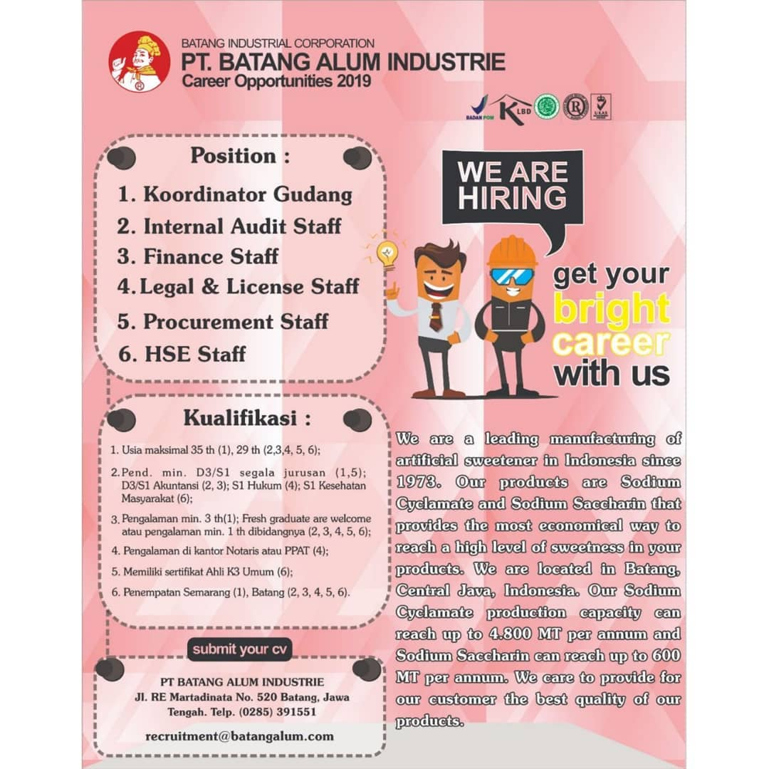 Job Vacancy : PT. Batang Alum Industrie