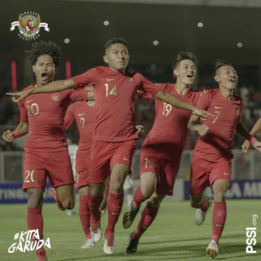 Timnas Indonesia U-19 Merayakan Gol Saat Berjumpa Timor Leste