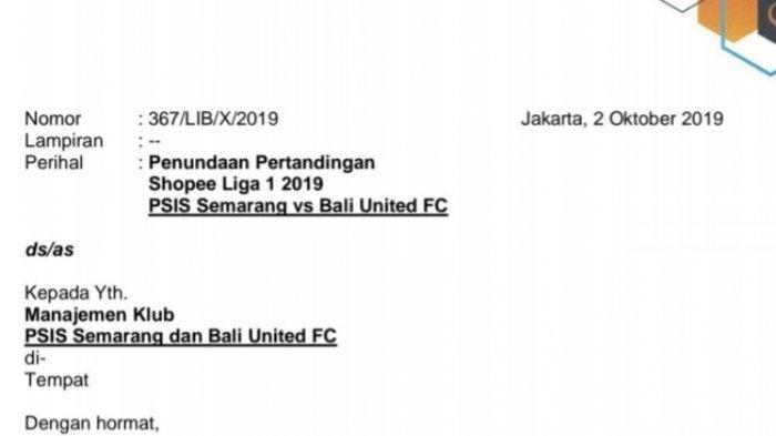 Laga PSIS Semarang VS Bali United Resmi Ditunda