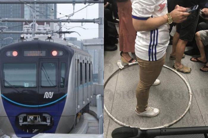Perempuan Ini Selalu Membewa Holahoop Setiap naik MRT