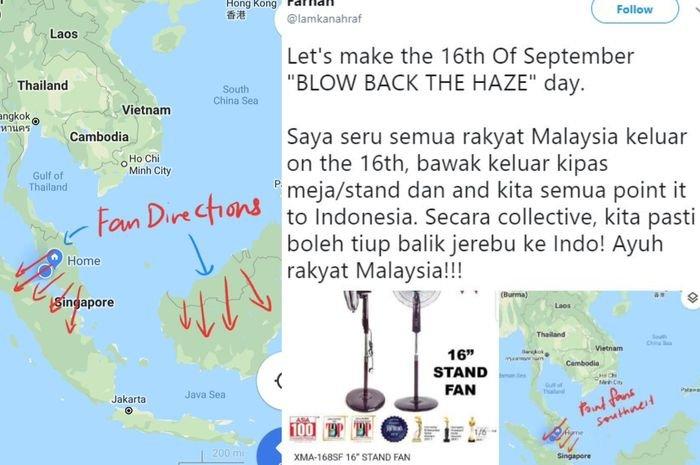 Salah satu netizen Malaysia mengajak semua orang di negeri jiran untuk mengembalikan asap kabut ke Indonesia
