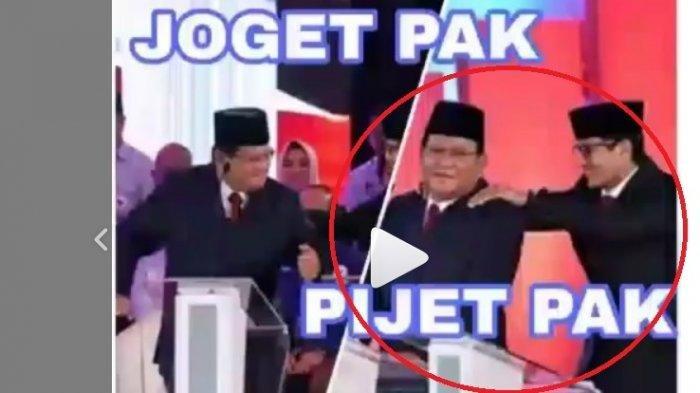 Viral, Detik-detik Prabowo Joget-joget di Debat Capres Lalu Punggungnya Dipijat Sandiaga Uno